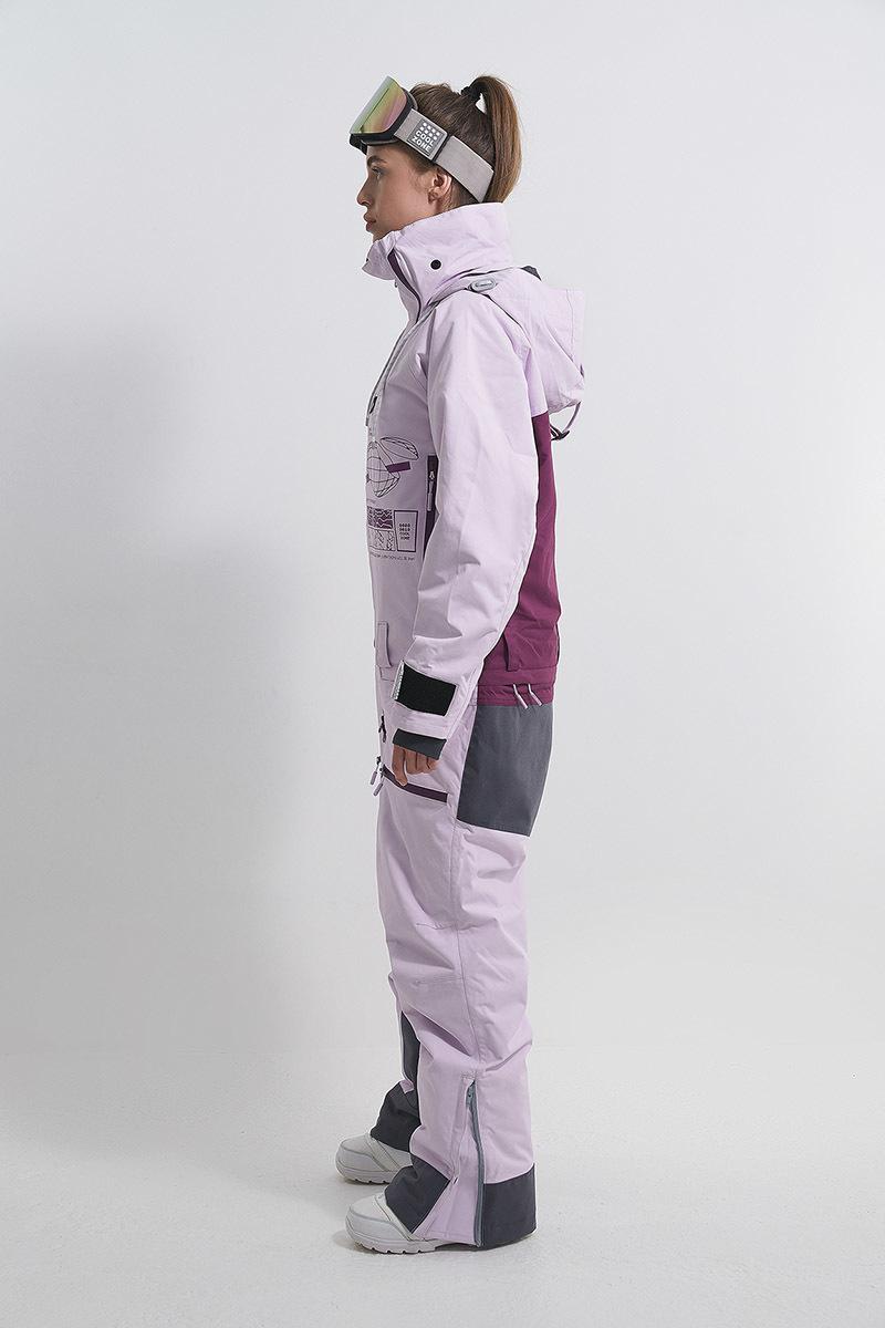 Cool Zone INTRO комбинезон женский сноубордический лавандовый-бордовый - 3