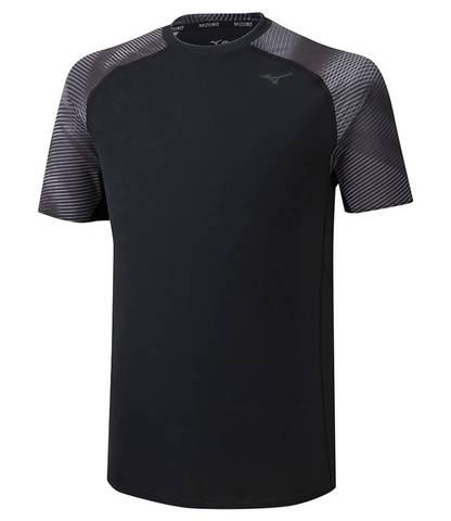 Mizuno Printed Tee беговая футболка мужская черная