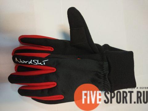 Nordski Warm лыжные перчатки черные-красные