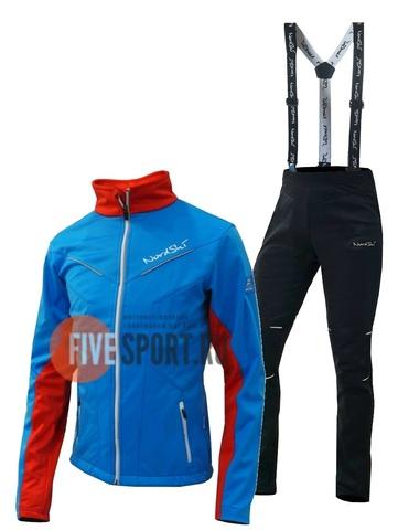 Nordski National Premium разминочный лыжный костюм женский Blue-Black