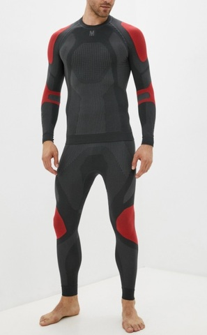 V-MOTION Alpinesports мужское термобелье комплект серый-красный