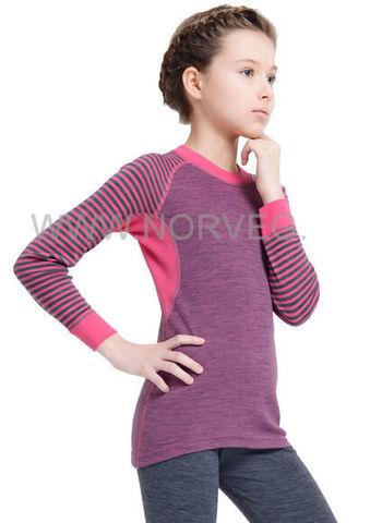 Термобелье рубашка из шерсти мериноса Norveg Climate Control Pink детская