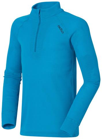 Odlo Warm детское термобелье рубашка на молнии голубая