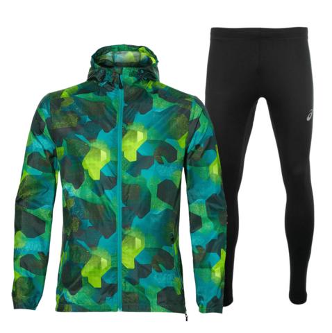 Asics Fuzex Packable Silver костюм для бега мужской зеленый