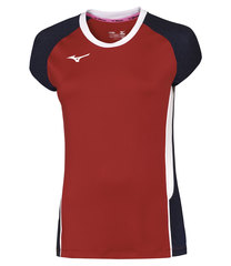 Mizuno Premium High Kyu Tee футболка для волейбола женская красная-синяя
