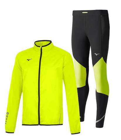 Mizuno Authentic Rain Static Bt Windproof костюм для бега мужской желтый-черный