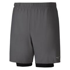 Mizuno Alpha 7.5 2 In 1 Short шорты для бега мужские серые