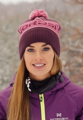 Nordski Stripe теплая шапка violet