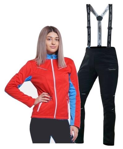 Nordski National Premium разминочный лыжный костюм женский Red-Black