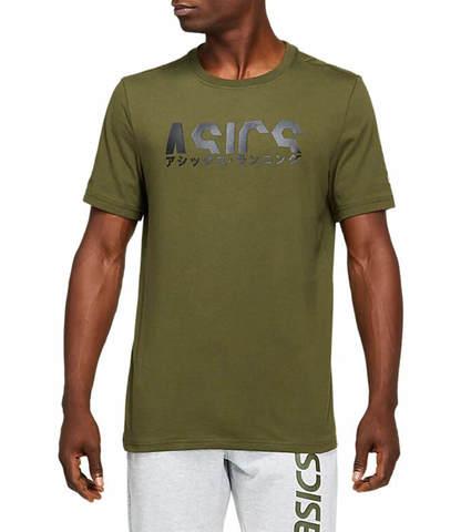 Asics Katakana Graphic Tee футболка для бега мужская хаки