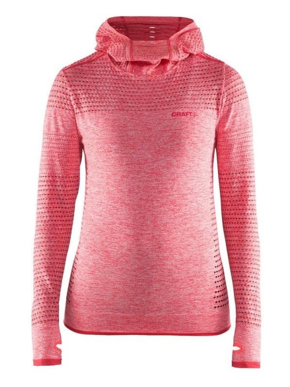 CRAFT CORE SEAMLESS женская спортивная рубашка с капюшоном red