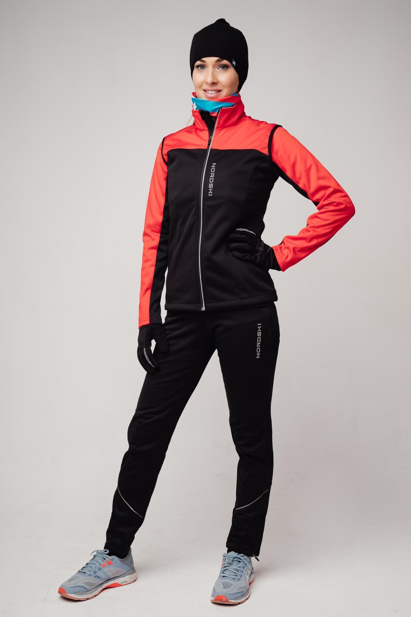 Nordski Active лыжный костюм женский красный-черный