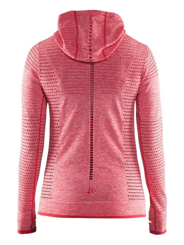 CRAFT CORE SEAMLESS женская спортивная рубашка с капюшоном red - 2