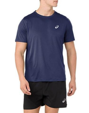 Asics Silver Ss Top футболка для бега мужская тёмно-синяя