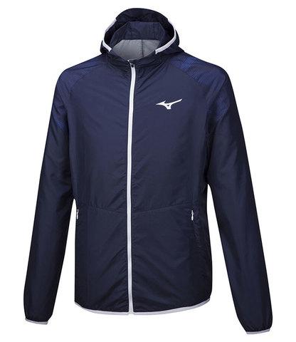 Mizuno Printed Hoody Jacket куртка для бега мужская темно-синяя