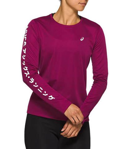 Asics Katakana Ls футболка с длинным рукавом женская фиолетовая