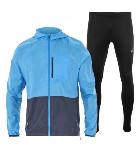 Asics Packable Silver костюм для бега мужской голубой-черный