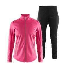 Craft Warm Storm 2.0 женский костюм для бега зимой черный-розовый