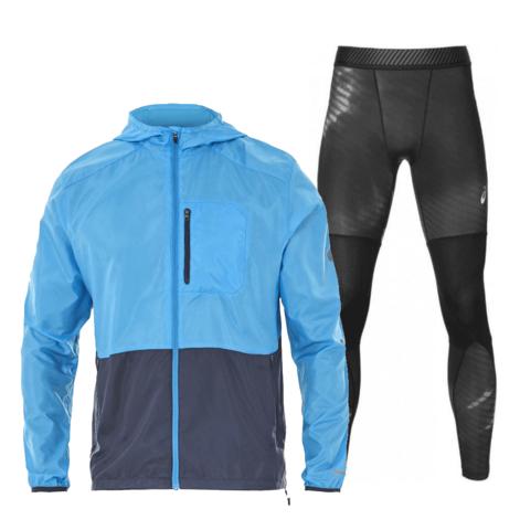 Asics Packable Base Layer Graphic костюм для бега мужской синий-черный
