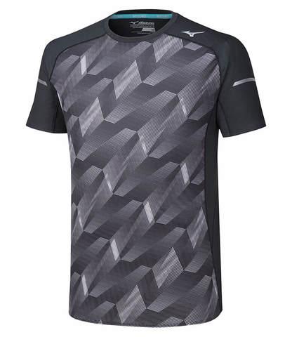 Mizuno Aero Tee беговая футболка мужская серая-черная