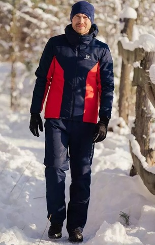 Теплый лыжный костюм мужской Nordski Base темно-синий-красный