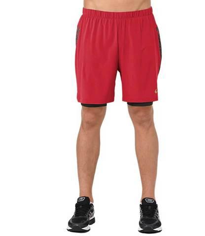 """Asics 2 In 1 7"""" Short шорты беговые мужские красные"""