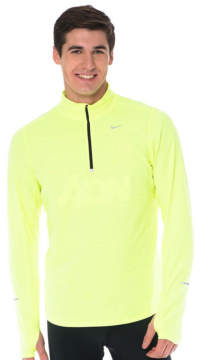 Футболка Nike Element 1/2 Zip LS /Рубашка беговая салатовая - 3