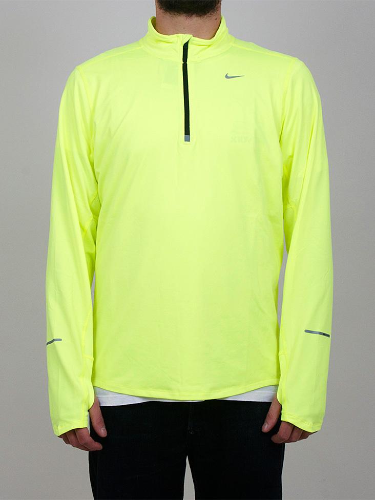 Футболка Nike Element 1/2 Zip LS /Рубашка беговая салатовая - 5