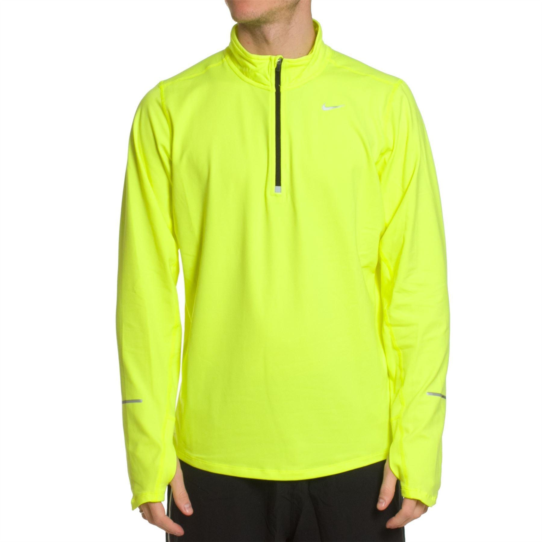 Футболка Nike Element 1/2 Zip LS /Рубашка беговая салатовая - 6
