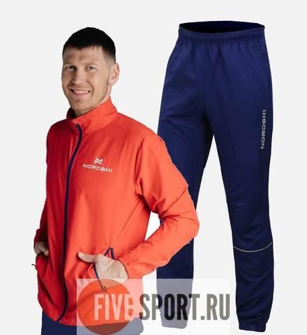 Nordski Motion Run беговой костюм мужской Navy-Red