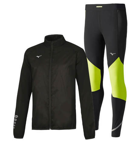 Mizuno Authentic Rain Static Bt Windproof костюм для бега мужской черный