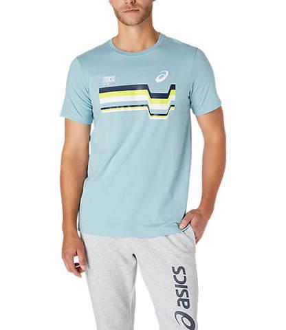 Asics 77 Tee футболка для бега мужская голубая