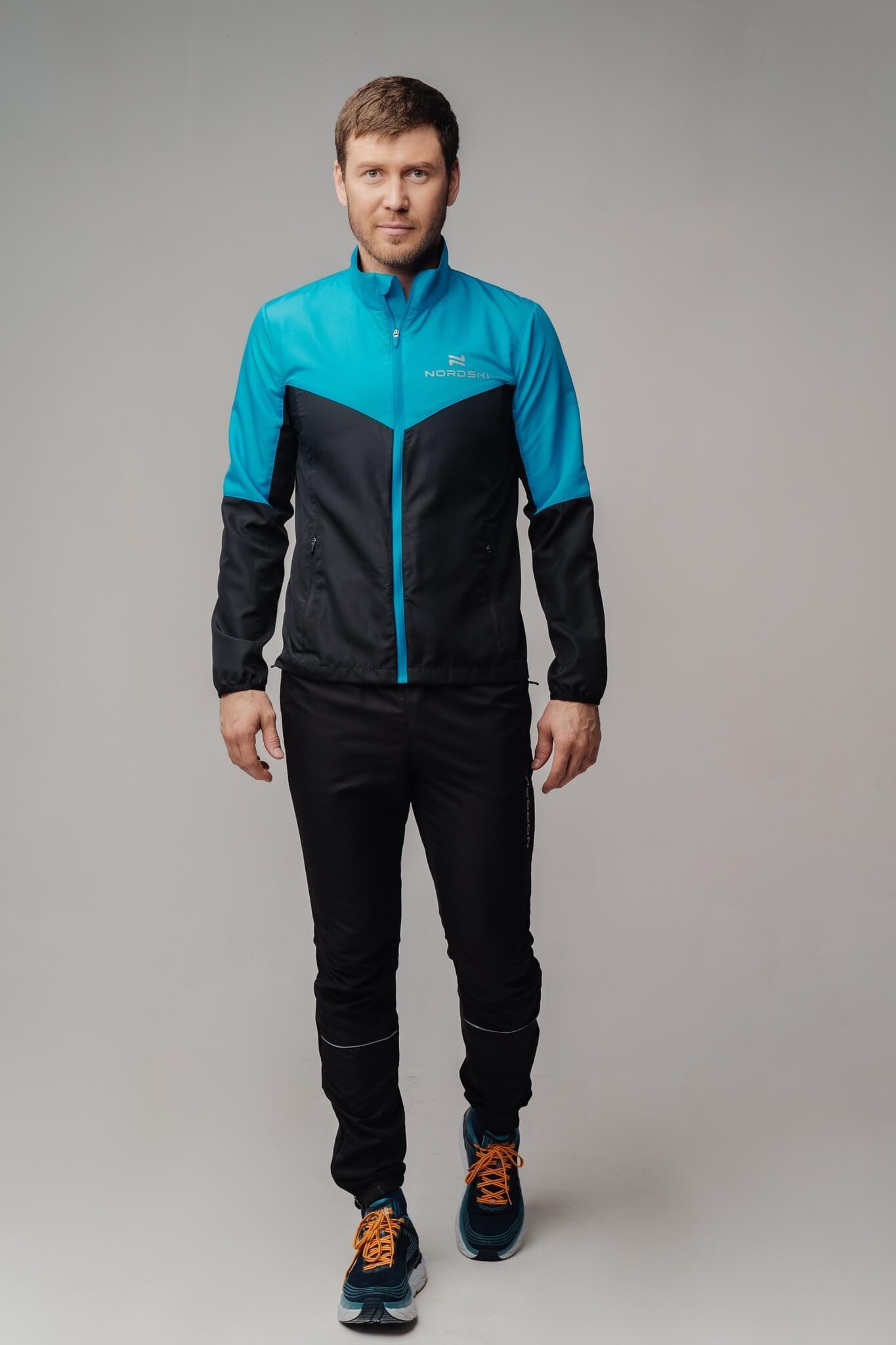 Nordski Sport куртка для бега мужская light blue-black - 2