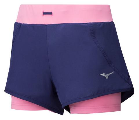 Mizuno Mujin 4.5 2 In 1 Short шорты для бега женские синие-розовые