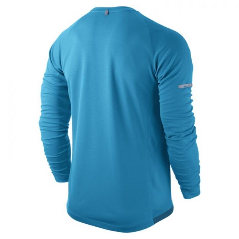 Футболка Nike Miler LS UV Top /Рубашка беговая голубая - 2