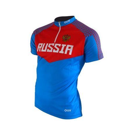 Olly Russia футболка беговая синяя-красная