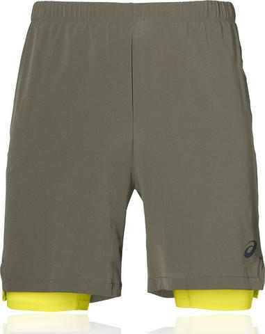 """Asics 2 In 1 7"""" Short шорты беговые мужские серые-желтые"""