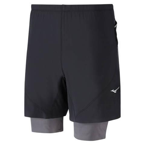 Mizuno Endura 7.5 2 In 1 Short шорты для бега мужские черные