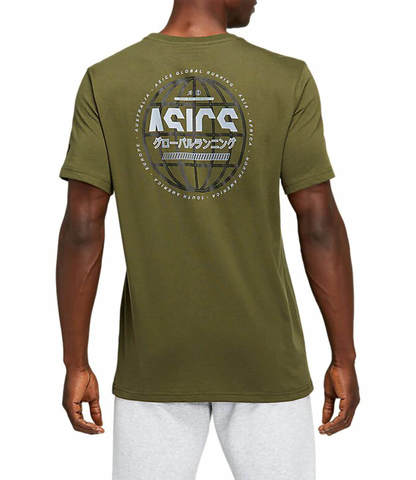 Asics Run Global Tee футболка для бега мужская хаки