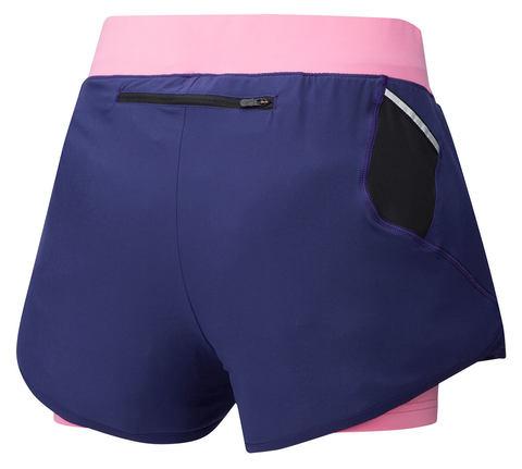 Mizuno Mujin 4.5 2 In 1 Short шорты для бега женские синие-розовые (РАСПРОДАЖА)