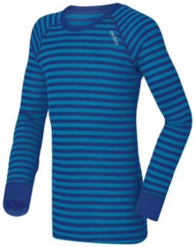 Odlo Warm детское термобелье рубашка синяя в полосу