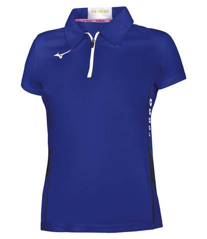 Mizuno Hex Rect Zip Polo женское спортивное поло синее