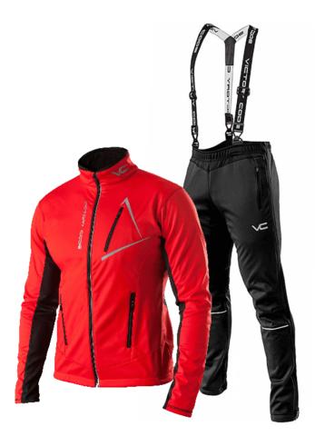 Victory Code Dynamic разминочный лыжный костюм с лямками red