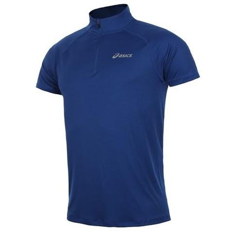 Футболка для бега мужская Asics Ss 1/2 Zip синяя