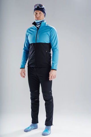 Nordski Premium разминочный лыжный костюм мужской light blue-black