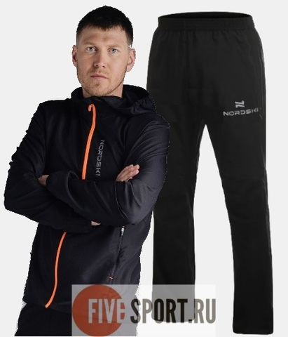 Nordski Run Motion костюм для бега мужской Black-Orange