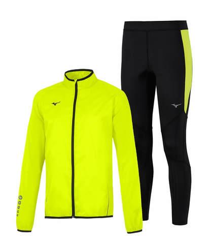 Mizuno Authentic Rain Static Bt костюм для бега мужской желтый-черный