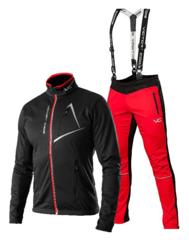 Victory Code Dynamic разминочный лыжный костюм с лямками black-red