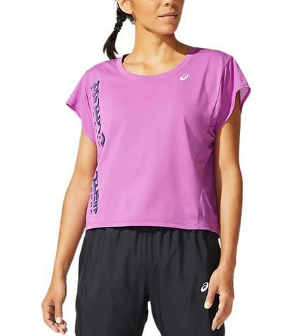 Asics Smsb Run Ss Top футболка для бега женская фиолетовая