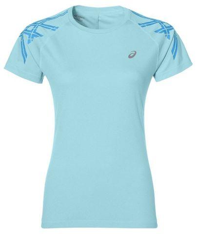 Футболка женская Asics Stripe Short Sleeve Top голубая